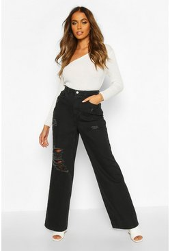 Womens Black Distressed Wide Leg High Rise Jean