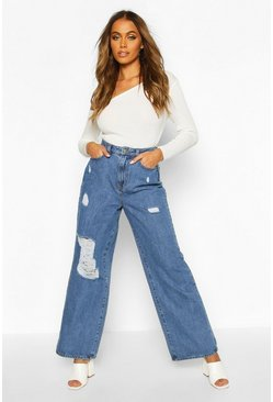 Mid blue Distressed Wide Leg High Rise Jean