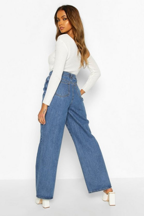 Distressed Wide Leg High Rise Jean