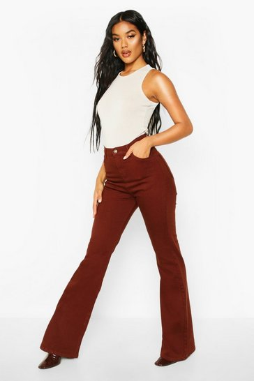 Womens Brown 70s High Rise Flare