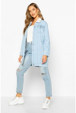 Womens Blue Borg Longline Denim Jacket