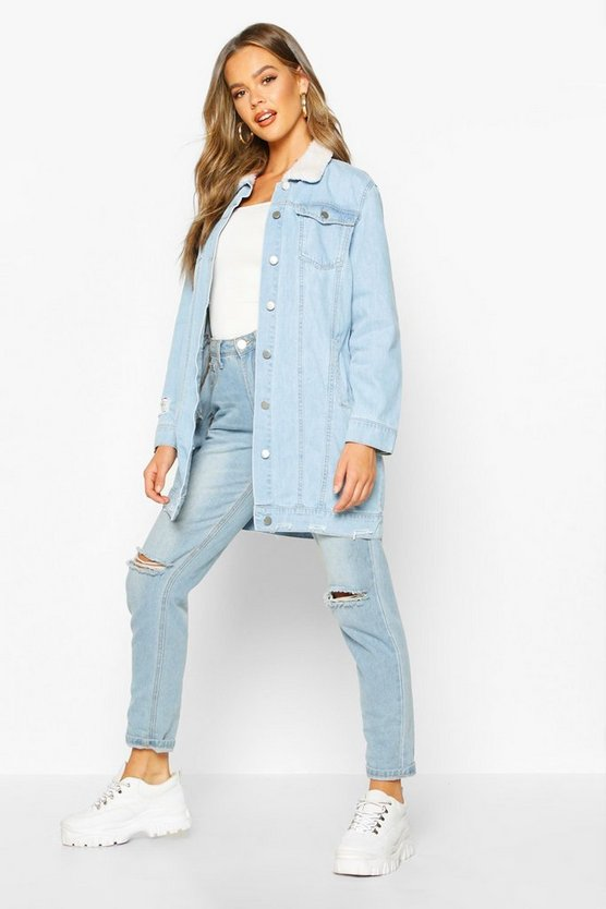 Borg Longline Denim Jacket