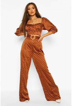 Brown Belted Polka Dot Satin Wide Leg Trouser