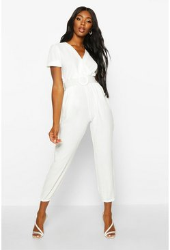 Cream Self Fabric Belted Jumpsuit
