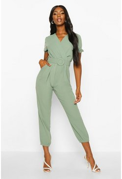 Sage Self Fabric Belted Jumpsuit