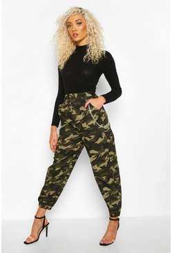 Womens Khaki Camo Chain Side Cargo Trousers