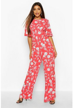 Womens Red Flared Sleeve Open Back Floral Jumpsuit