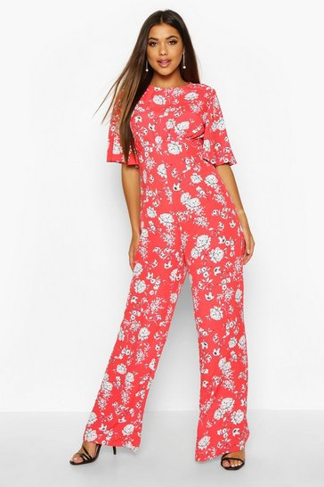 Red Flared Sleeve Open Back Floral Jumpsuit