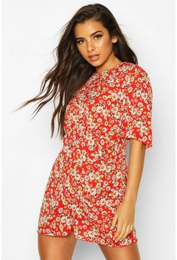 Womens Red Floral Flared Sleeve Playsuit