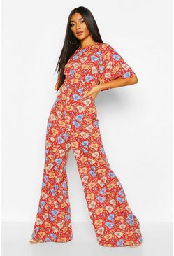 Red Floral Flared Sleeve Culotte Jumpsuit