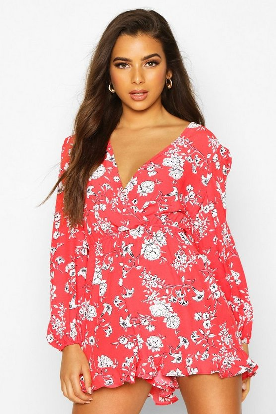 Red Floral Wrap Front Blouson Sleeve Playsuit