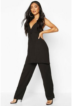 Womens Black Knot Front Wide Leg Cami Jumpsuit