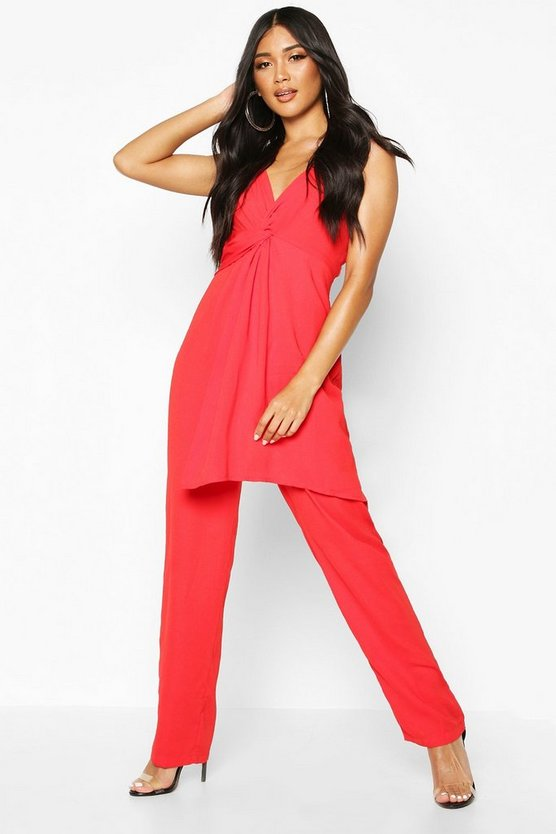 Red Knot Front Wide Leg Cami Jumpsuit