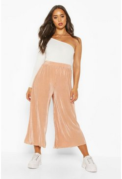 Nude Pleated Flared Hem Culottes