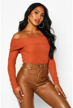 Womens Terracotta Asymmetric Off Shoulder Bandage Rib Top