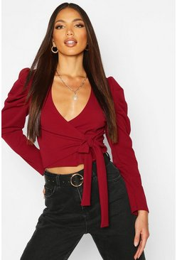 Womens Berry Puff Sleeve Wrap Top