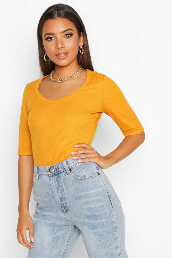 Womens Mustard Ribbed Scoop Neck Short Sleeve Top