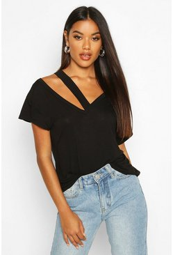 Black Cut Out Detail T-Shirt