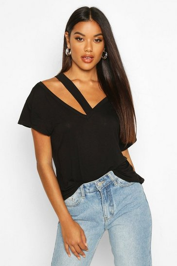 Womens Black Cut Out Detail T-Shirt