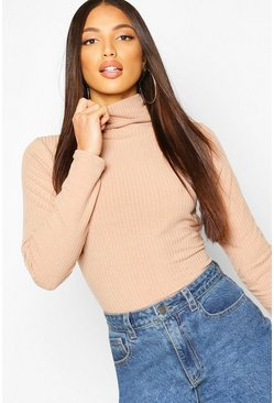 Stone Soft Rib Roll Neck Top