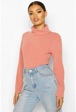 Terracotta Soft Rib Roll Neck Top