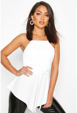 White Crepe Tie Front Asymmetric Top