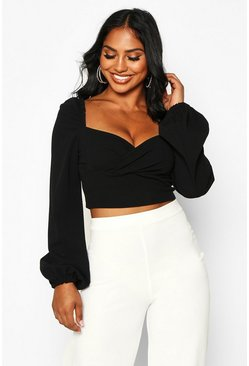Black Crepe Wrap Long Sleeve Crop Top