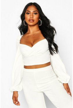 Womens White Crepe Wrap Long Sleeve Crop Top