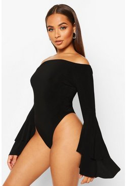 Black Off The Shoulder Flared Ruffle Sleeve Bodysuit