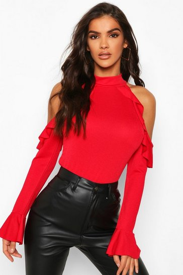 Womens Red Crepe Ruffle Cold Shoulder Top