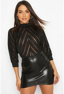 Womens Black Mesh Panelled Batwing Bodysuit