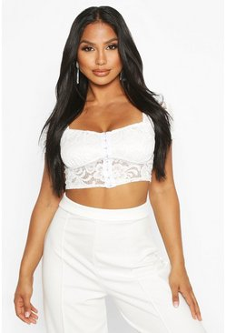 8fd933e83a5963 Lace Hook And Eye Crop Top