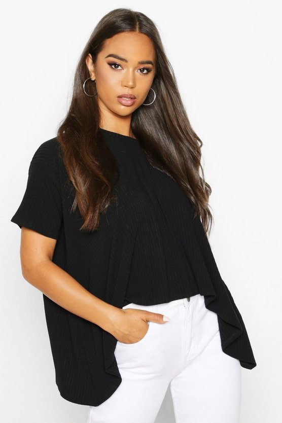 Womens Black Soft Rib Swing Top