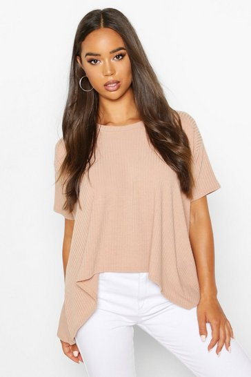 Womens Stone Soft Rib Swing Top