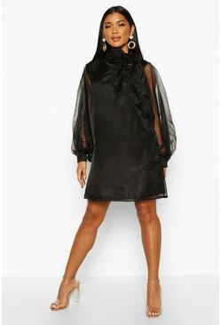 Womens Black Organza Oversized Pussybow Shirt Dress