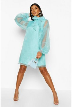 Womens Blue Organza Oversized Pussybow Shirt Dress
