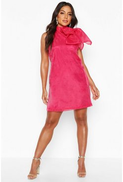 Womens Hot pink Organza Sleeveless Pussybow Swing Dress