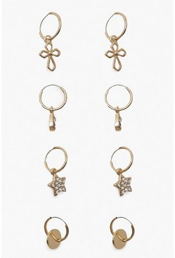 Gold Star Cross & Coin Mini Hoop Pack