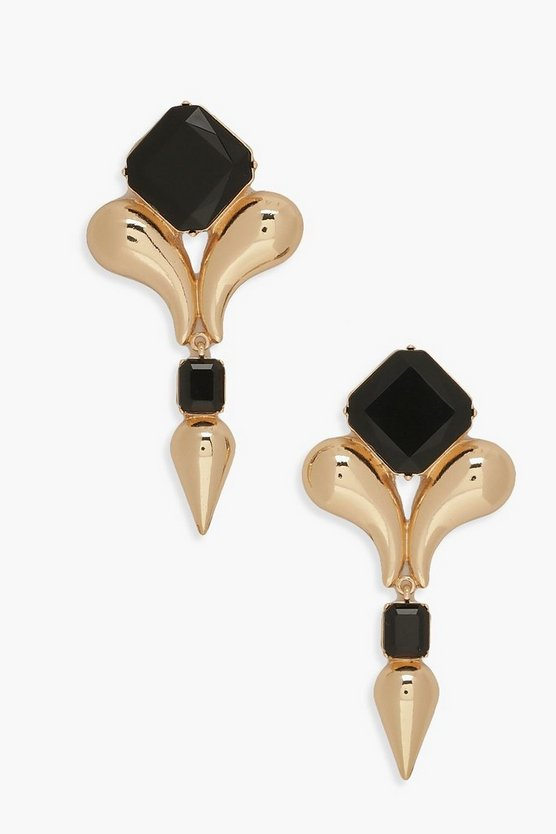 Black Stone & Gold Statement Earrings