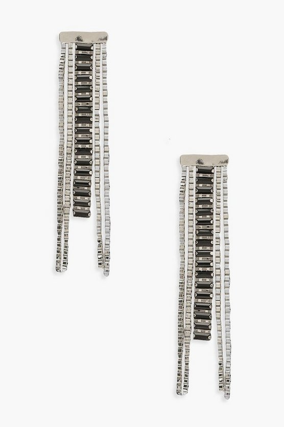 Bar Chain & Baguette Stone Earrings