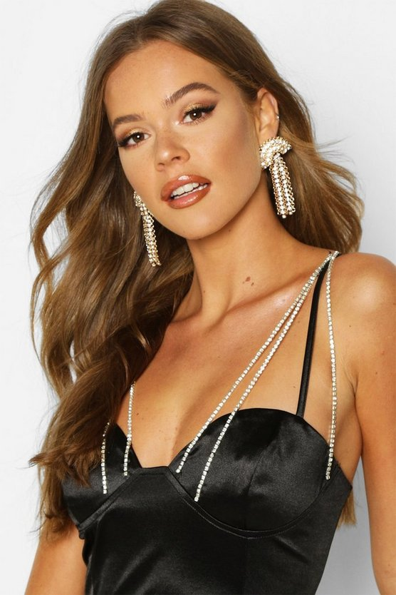 Fan Diamante & Chain Statement Earrings