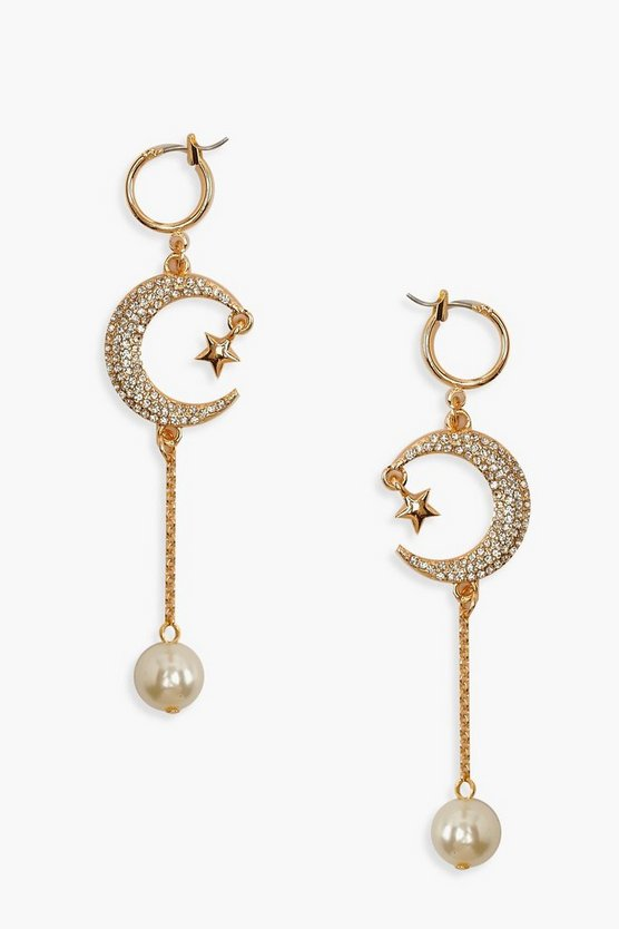 Star Moon & Pearl Drop Statement Earrings