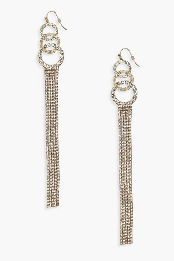 Circle & Long Diamante Statement Earrings