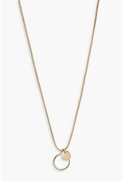 Gold Double Mini Circle Pendant Necklace