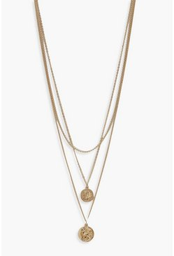 Womens Gold Simple Coin Layered Necklace