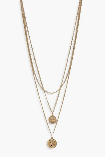 Gold Simple Coin Layered Necklace