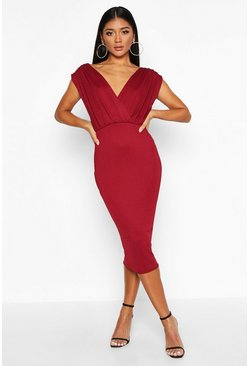 Womens Berry Gathered Wrap Top Bodycon Midi Dress