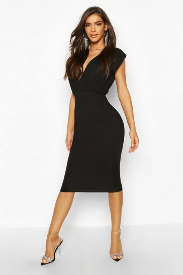 Black Gathered Wrap Top Bodycon Midi Dress