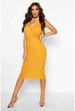 Mustard Gathered Wrap Top Bodycon Midi Dress