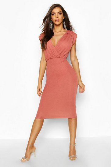 Womens Rose Gathered Wrap Top Bodycon Midi Dress
